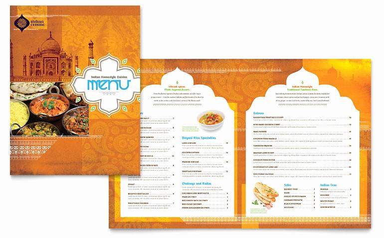 Free Menu Template Download Word Beautiful Indian Restaurant Menu Template Word & Publisher