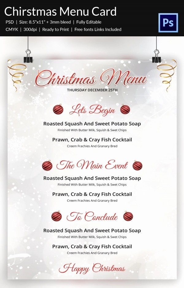 Free Menu Template Download Word Best Of Christmas Menu Template 37 Free Psd Eps Ai