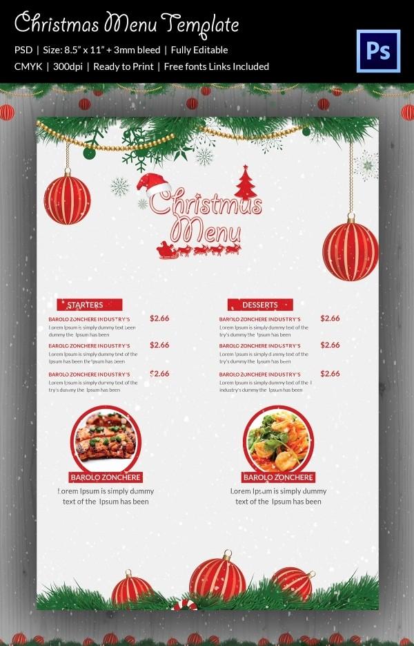Free Menu Template Download Word Fresh 35 Christmas Menu Template Free Sample Example format