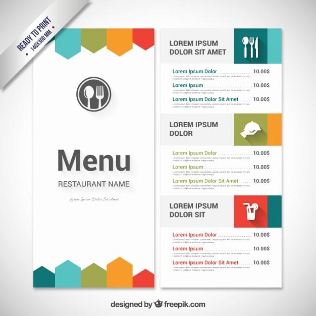 Free Menu Template Download Word Fresh Colorful Menu Template Vector