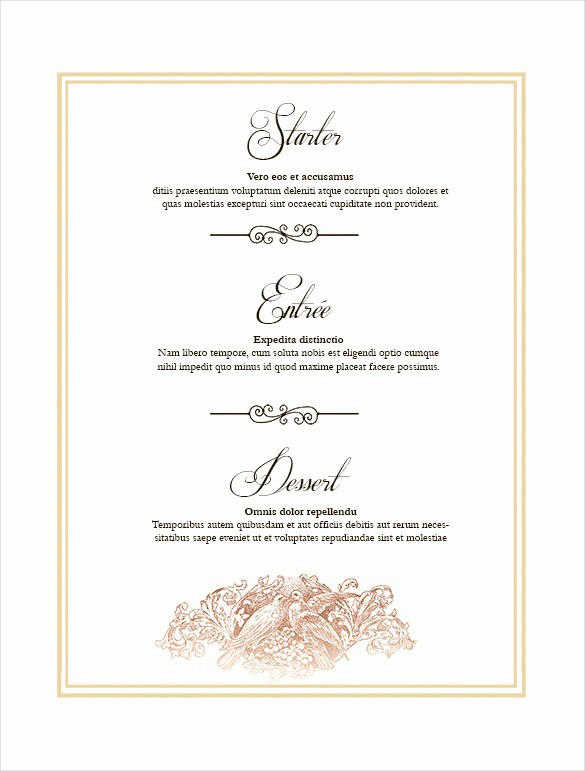 Free Menu Template Download Word Inspirational 36 Wedding Menu Templates – Free Sample Example format