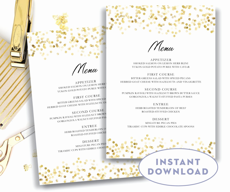 Free Menu Template Download Word Inspirational Gold Wedding Menu Template 5x7 Editable Text Microsoft Word