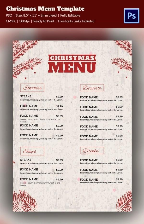 Free Menu Template Download Word Lovely Christmas Menu Template 37 Free Psd Eps Ai