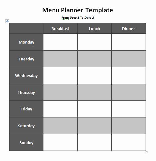 Free Menu Template Microsoft Word New Menu Planner Template 8 Free Printable Templates Word