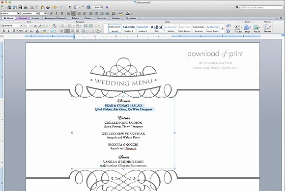 Free Menu Template Microsoft Word Unique Free Wedding Menu Template