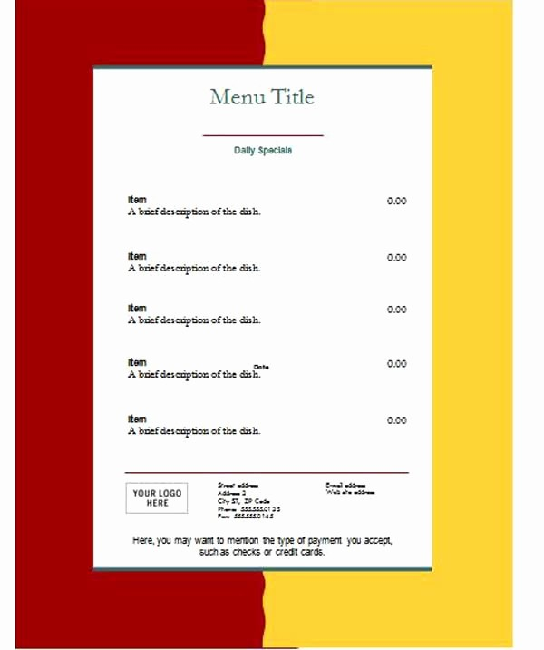 Free Microsoft Templates for Word Fresh Free Menu Templates