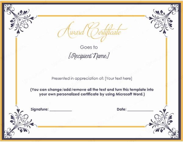 Free Microsoft Word Certificate Templates Awesome Templates Of Award Certificates