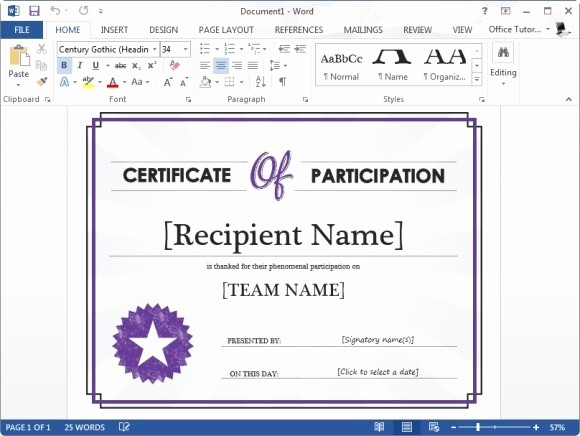 Free Microsoft Word Certificate Templates Beautiful Certificate Participation Template for Microsoft Word