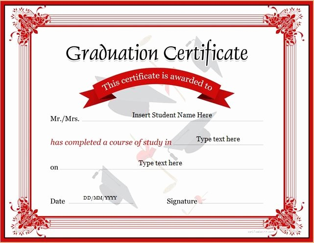 Free Microsoft Word Certificate Templates Beautiful Graduation Certificate Template for Ms Word Download at