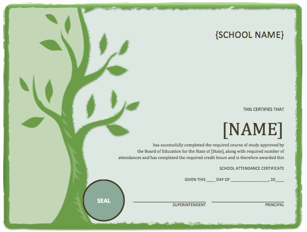 Free Microsoft Word Certificate Templates Beautiful School attendance Certificate Template – Microsoft Word