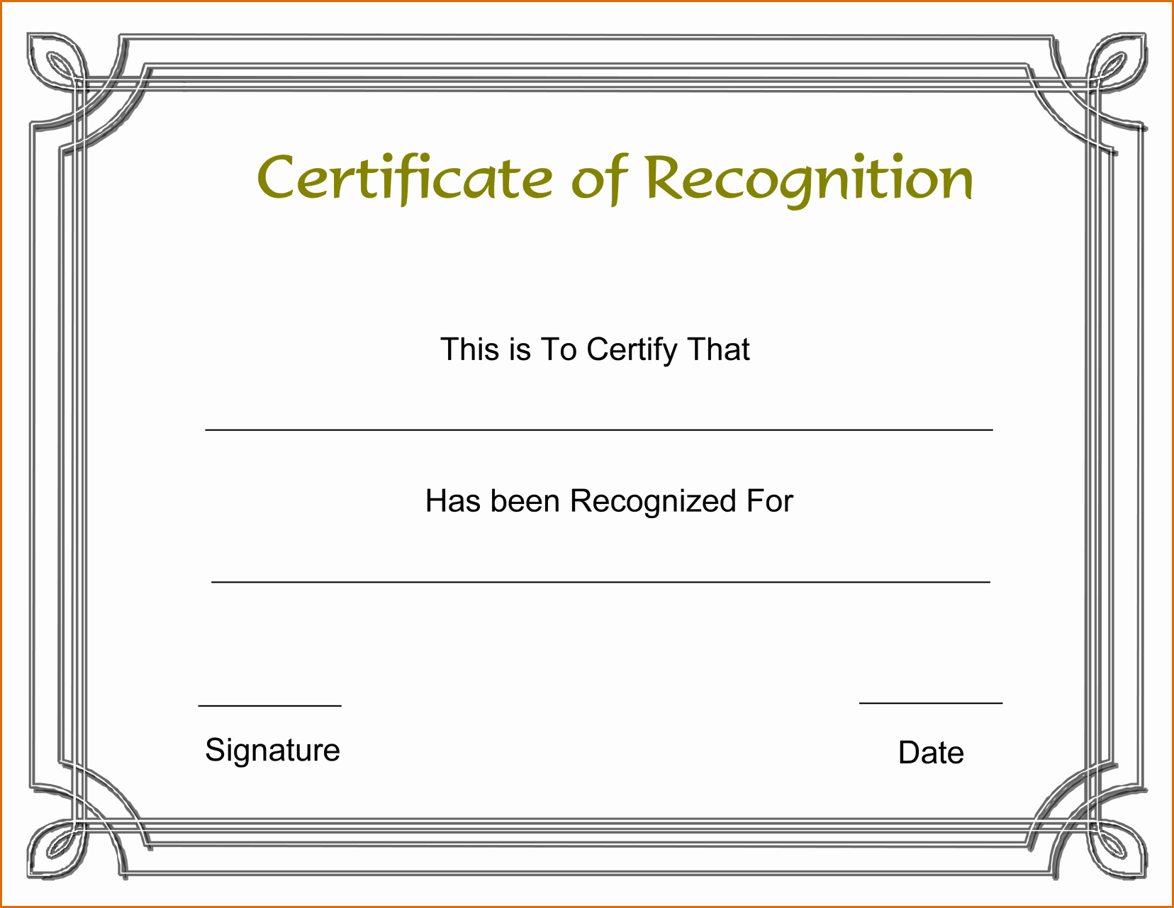 Free Microsoft Word Certificate Templates Elegant 13 Certificate Of Recognition Template