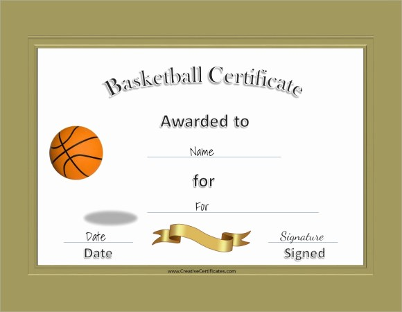 Free Microsoft Word Certificate Templates Elegant 9 Sample Basketball Certificate Templates to Download