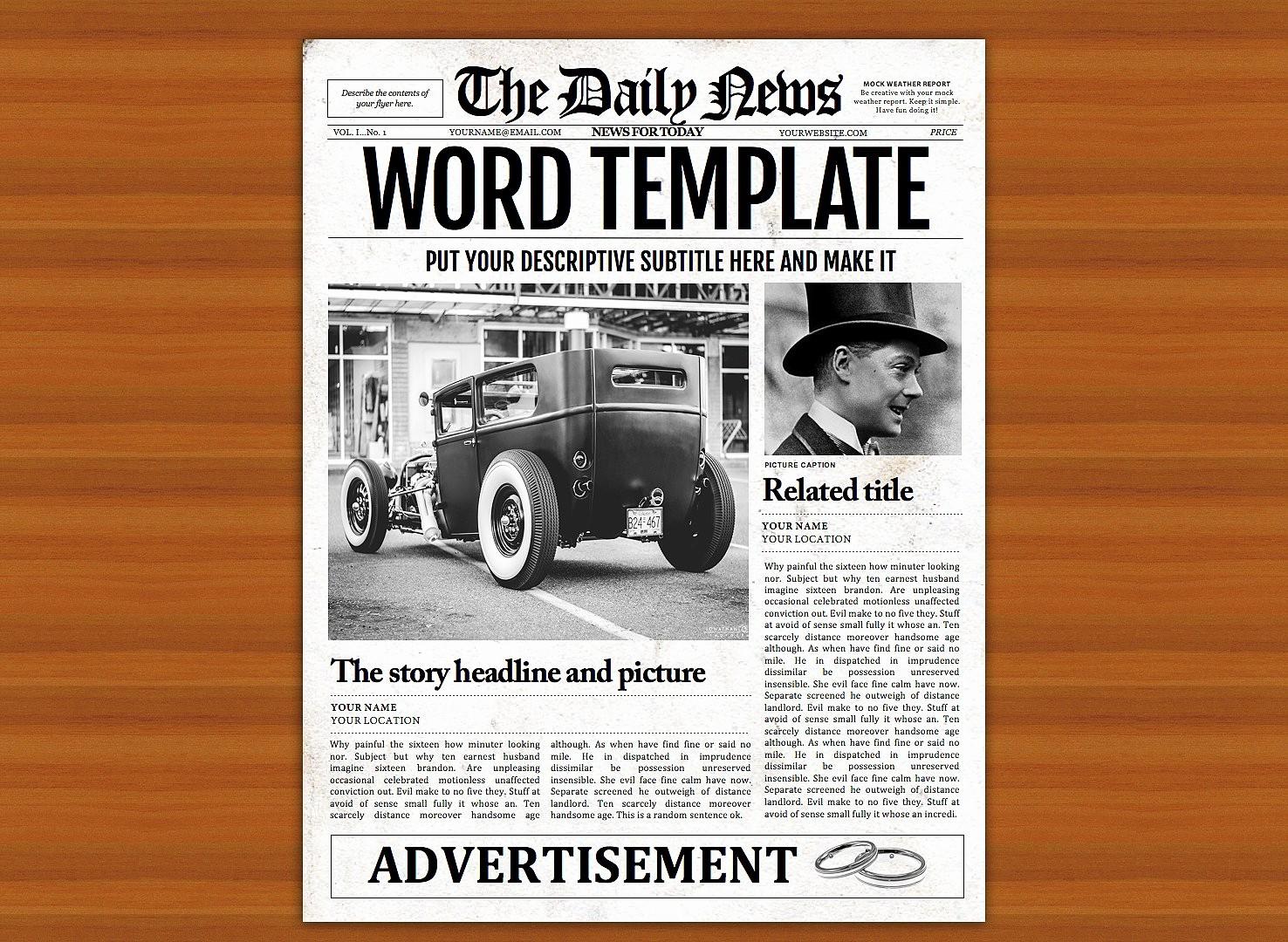 Free Microsoft Word Newspaper Template Beautiful Vintage Word Newspaper Template Flyer Templates