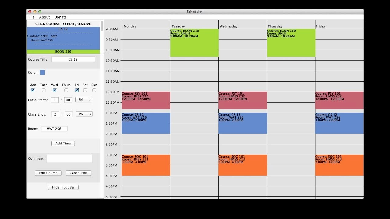 Free Middle School Schedule Maker Awesome Free College Schedule Maker Builder Link In Description