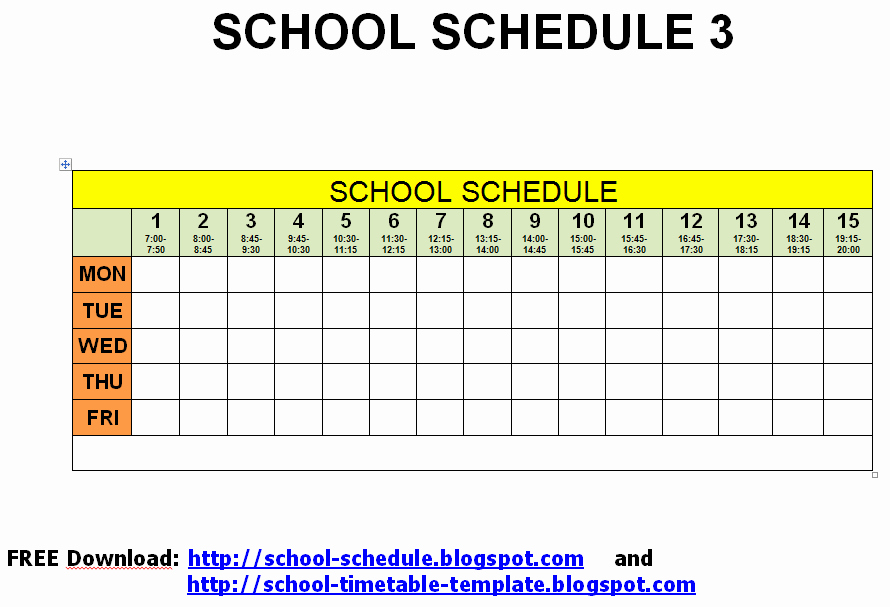 Free Middle School Schedule Maker Fresh 5 Best Of Free Printable School Class Schedule