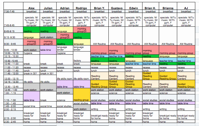 Free Middle School Schedule Maker Lovely Special Education Schedule Template