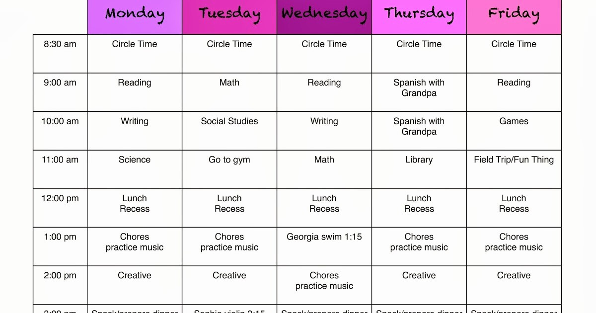 Free Middle School Schedule Maker Unique A Marmie Life Homeschool Weekly Schedule and A Free Template