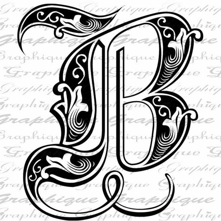 Free Monogram Template for Word Beautiful Letter Initial B Monogram Old Engraving Style Type Text