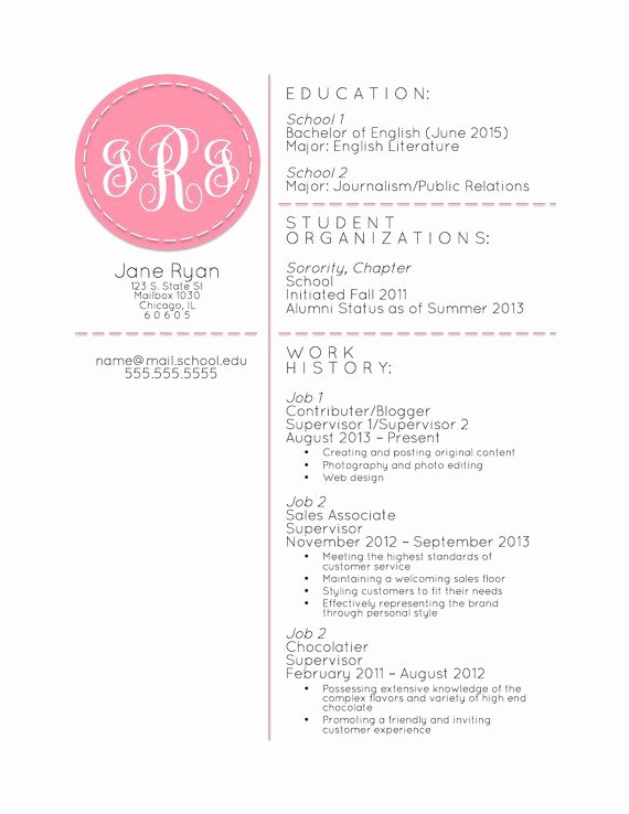 Free Monogram Template for Word Elegant Monogrammed Resumé Template Microsoft Word by