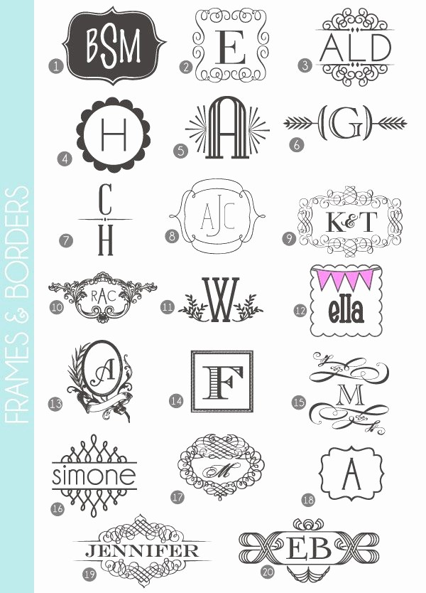 Free Monogram Template for Word Fresh Monograms Made Easy 72 Fonts & Frames