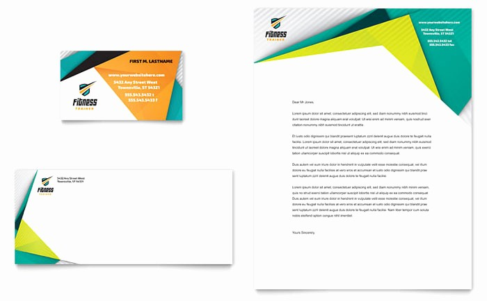 Free Monogram Template for Word New Fitness Trainer Business Card & Letterhead Template Design