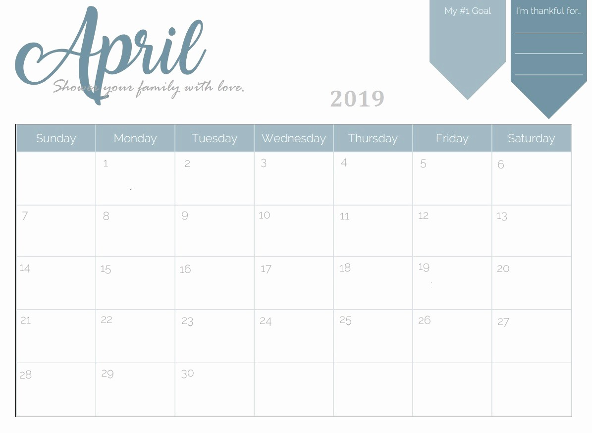 Free Monthly Calendar Template 2019 Awesome Free Printable 2019 Monthly Calendar