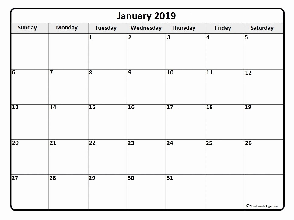 Free Monthly Calendar Template 2019 Awesome January 2019 Calendar