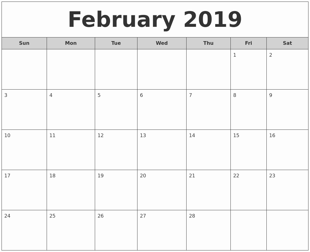 Free Monthly Calendar Template 2019 Awesome January 2019 Monthly Calendar Printable