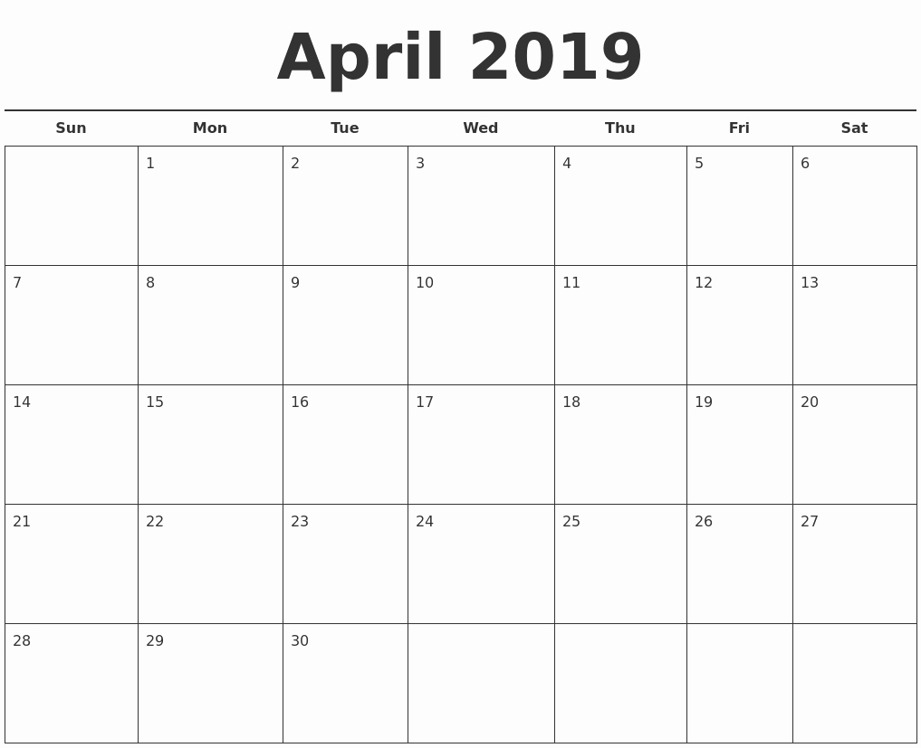 Free Monthly Calendar Template 2019 Awesome May 2019 Blank Monthly Calendar