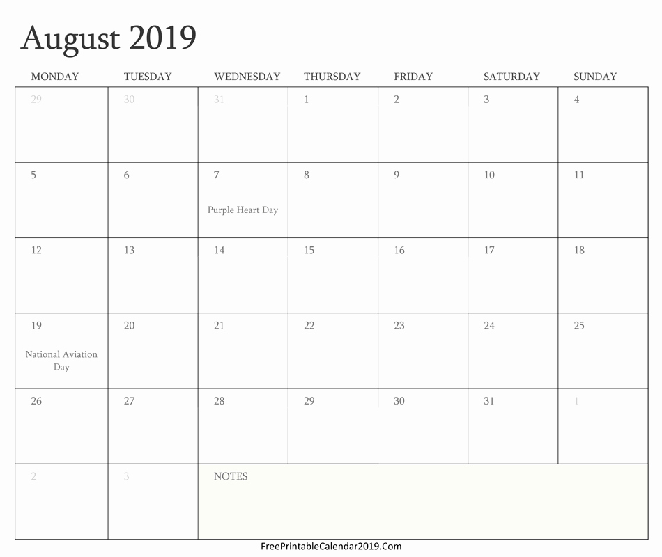 Free Monthly Calendar Template 2019 Beautiful August 2019 Calendar Templates