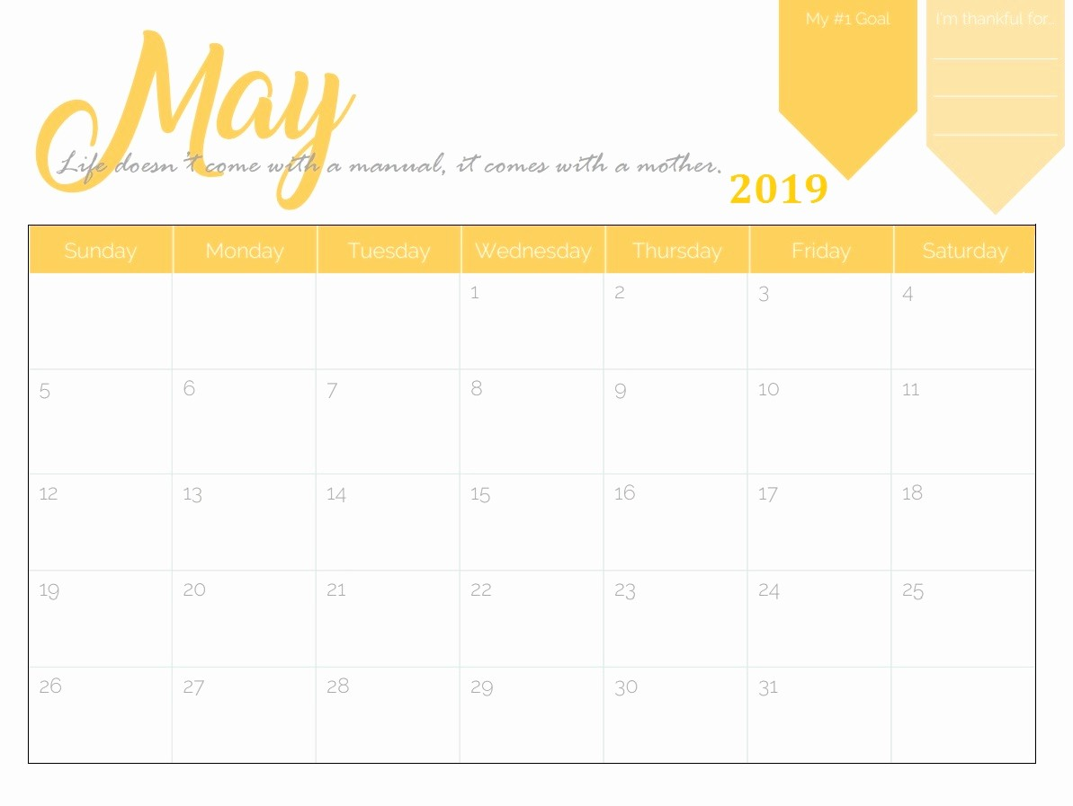 Free Monthly Calendar Template 2019 Beautiful Free Printable 2019 Monthly Calendar