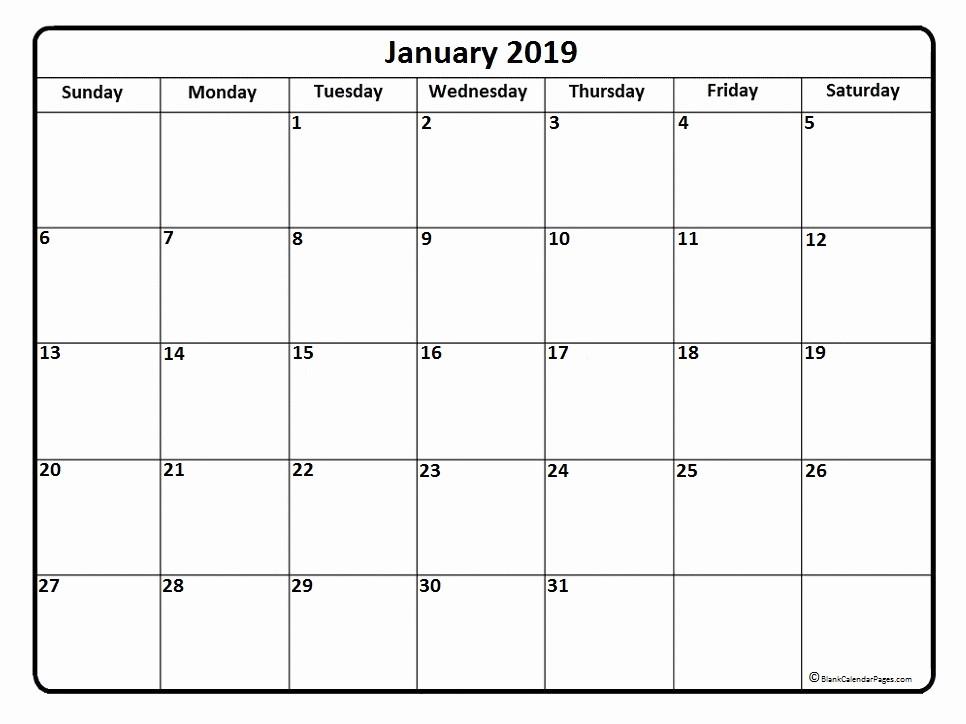 Free Monthly Calendar Template 2019 Beautiful January 2019 Calendar