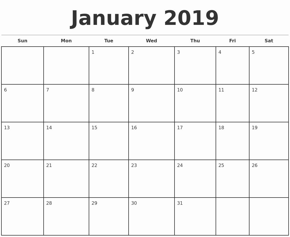 Free Monthly Calendar Template 2019 Best Of 2019 Monthly Calendar Template
