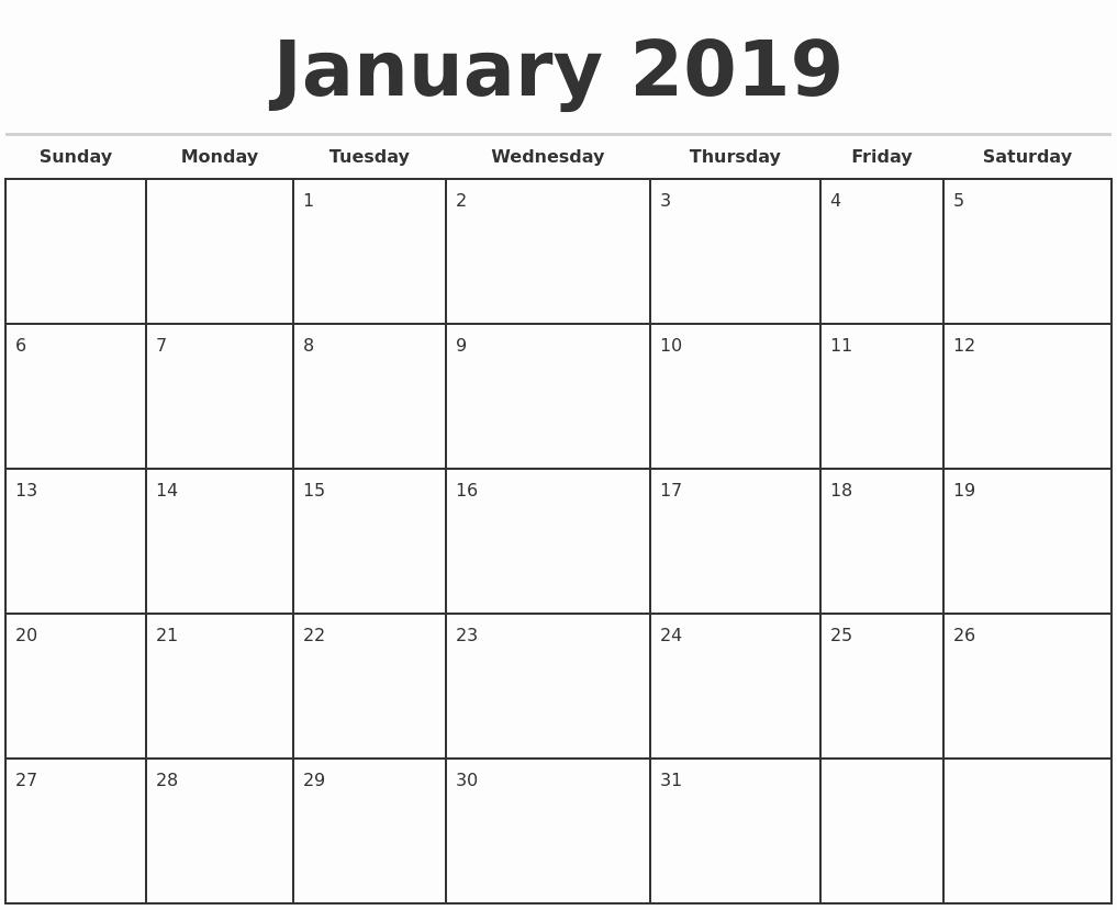 Free Monthly Calendar Template 2019 Elegant 2019 Monthly Calendar Template