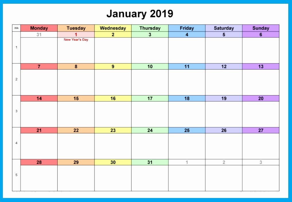 Free Monthly Calendar Template 2019 Elegant Free Printable January 2019 Blank Templates