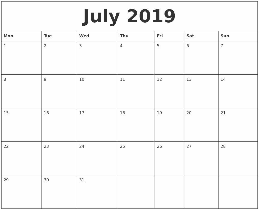 Free Monthly Calendar Template 2019 Fresh July 2019 Free Printable Monthly Calendar