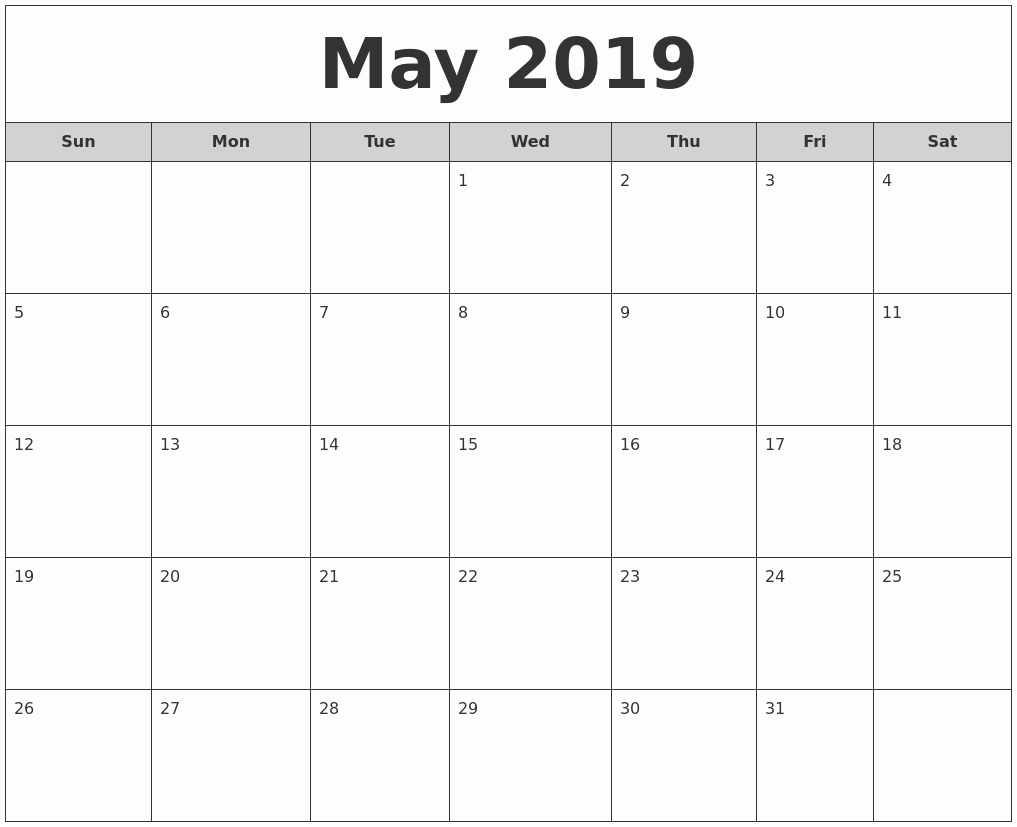 Free Monthly Calendar Template 2019 Fresh May 2019 Free Monthly Calendar