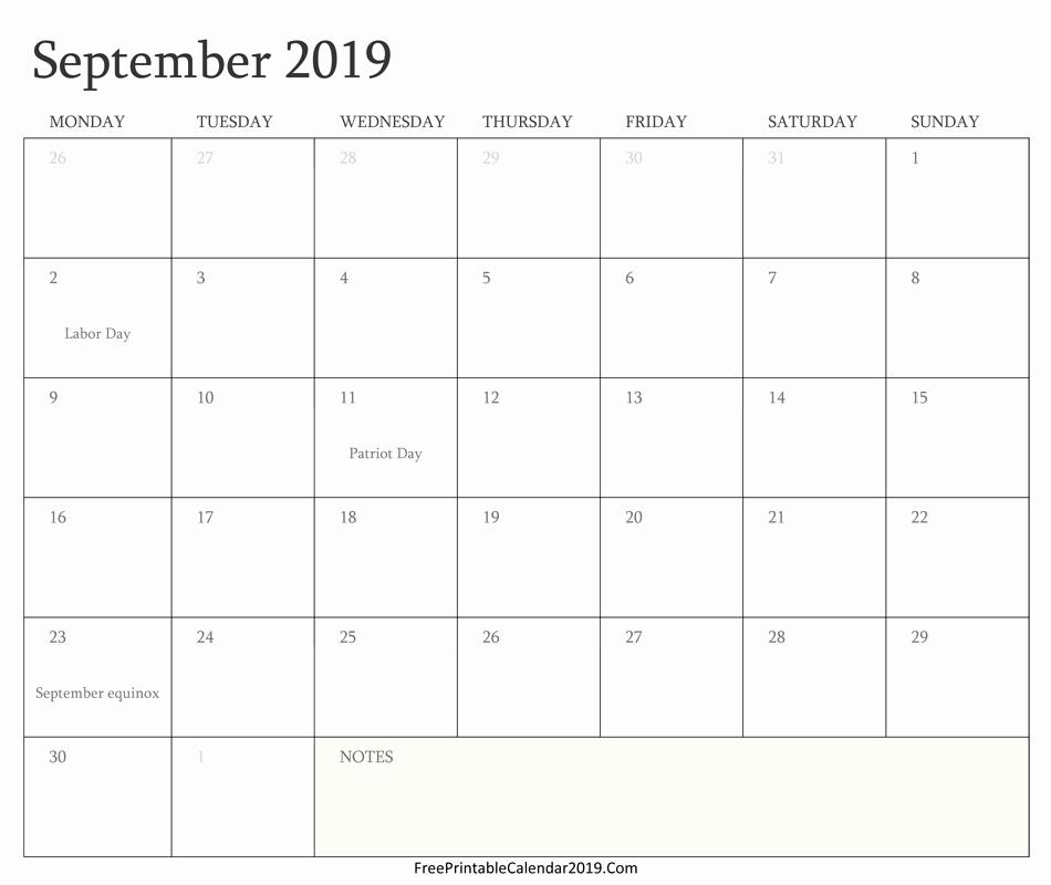 Free Monthly Calendar Template 2019 Inspirational September 2019 Calendar Templates