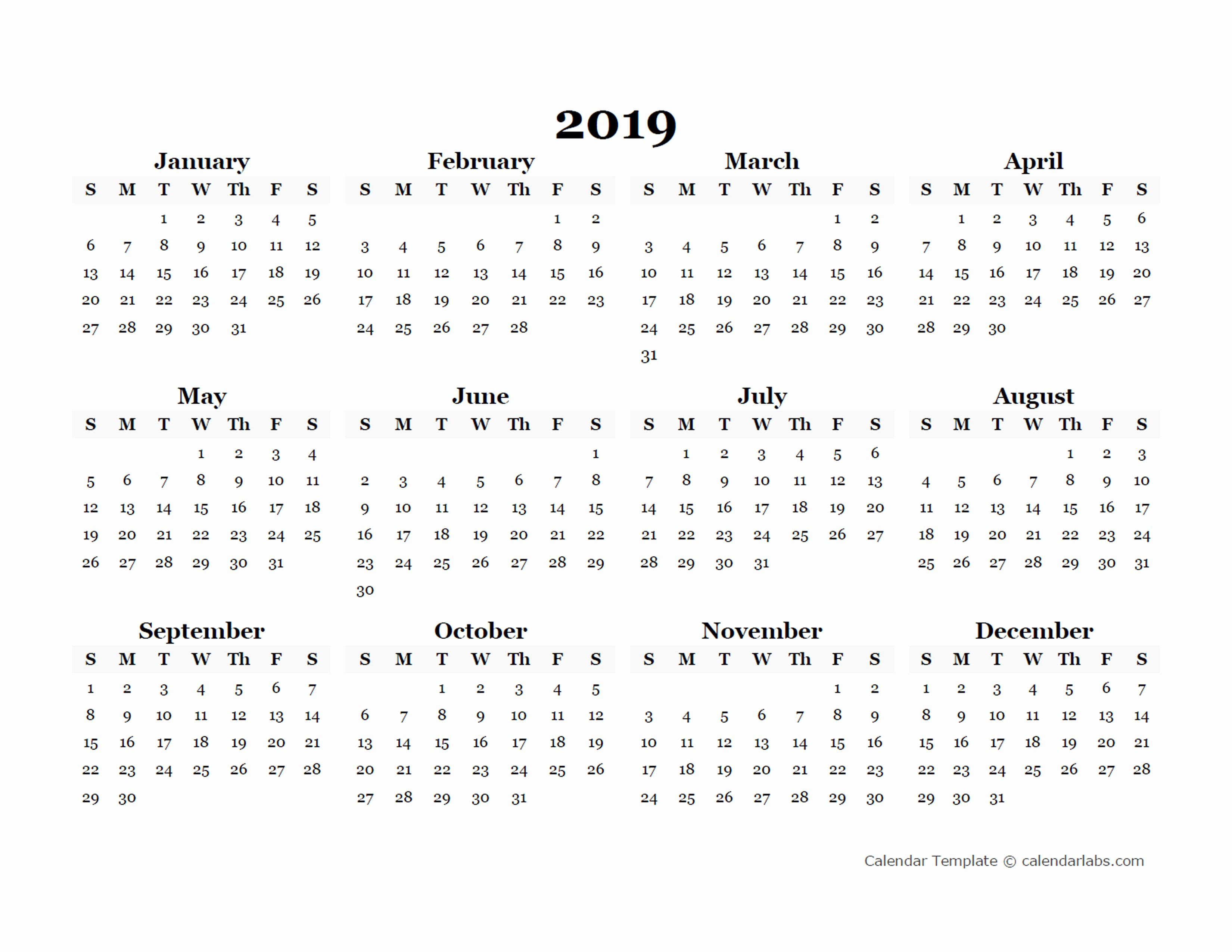 Free Monthly Calendar Template 2019 Lovely 2019 Yearly Blank Calendar Template Free Printable Templates