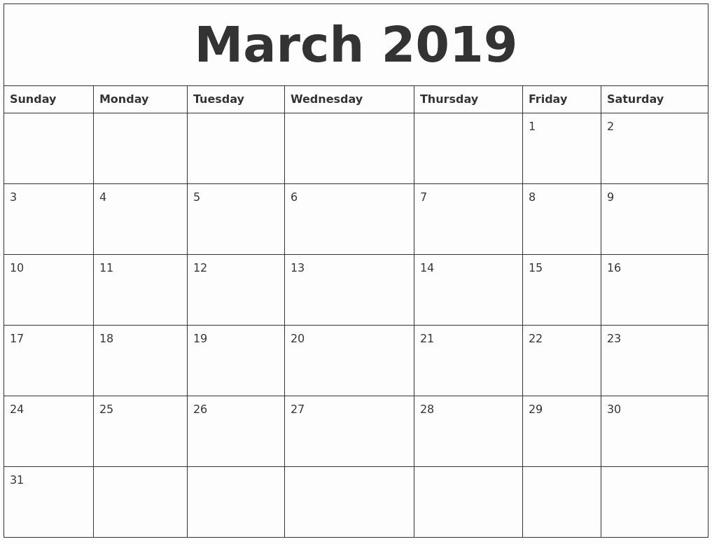 Free Monthly Calendar Template 2019 Lovely March 2019 Calendar Template