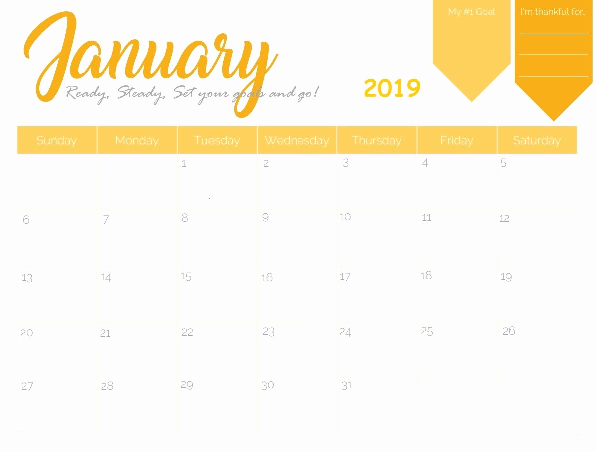 Free Monthly Calendar Template 2019 Luxury Free Printable 2019 Monthly Calendar