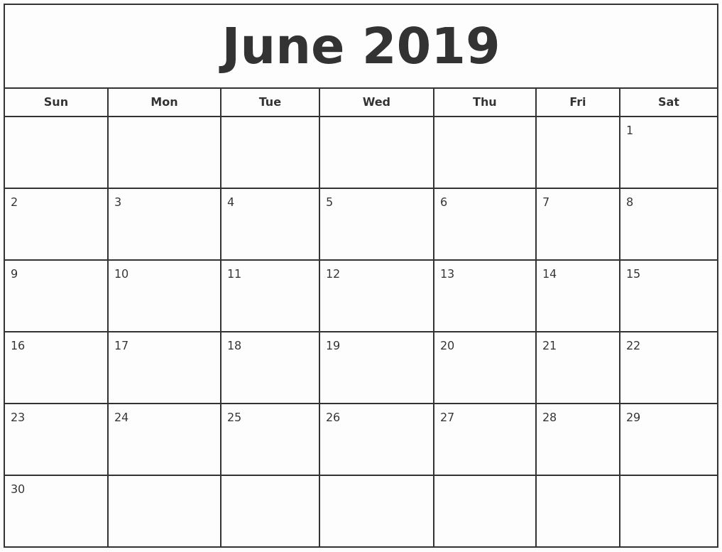 Free Monthly Calendar Template 2019 Luxury June 2019 Print Free Calendar