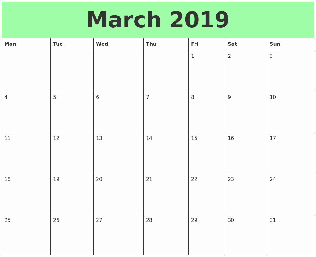 Free Monthly Calendar Template 2019 Luxury March 2019 Printable Calendar