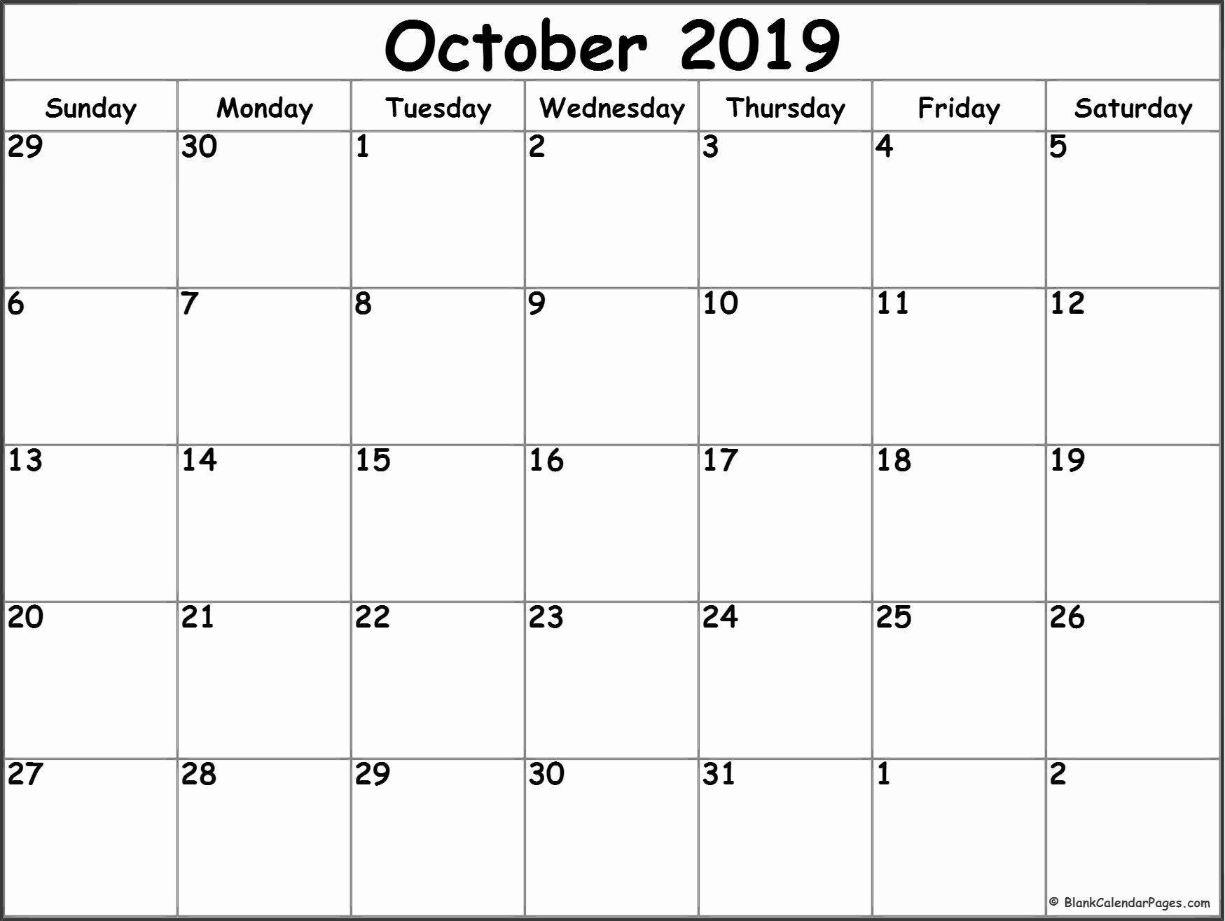 Free Monthly Calendar Template 2019 Luxury October 2019 Blank Calendar Collection