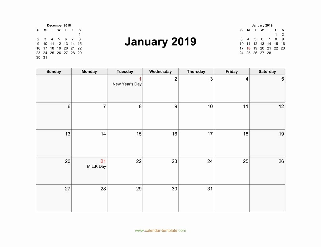 Free Monthly Calendar Template 2019 New 2019 Calendar with Previous and Next Month top