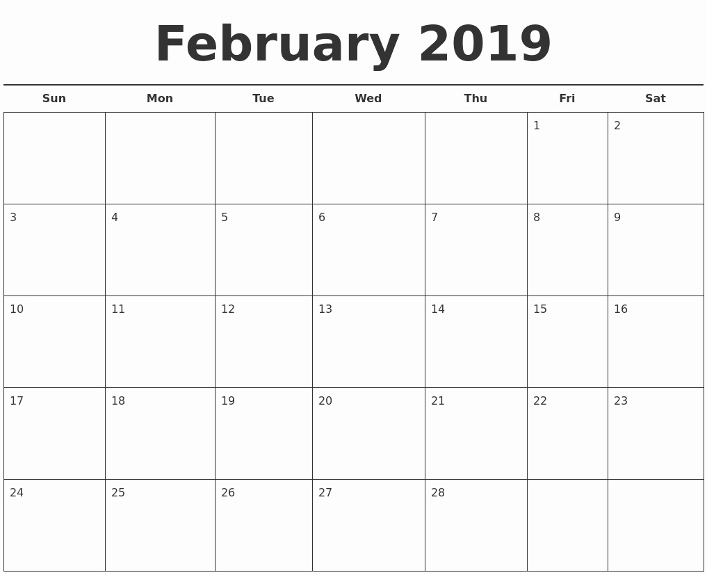 Free Monthly Calendar Template 2019 New February 2019 Free Calendar Template