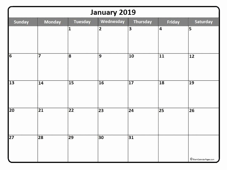 Free Monthly Calendar Template 2019 New January 2019 Calendar Canada – Month Printable Calendar