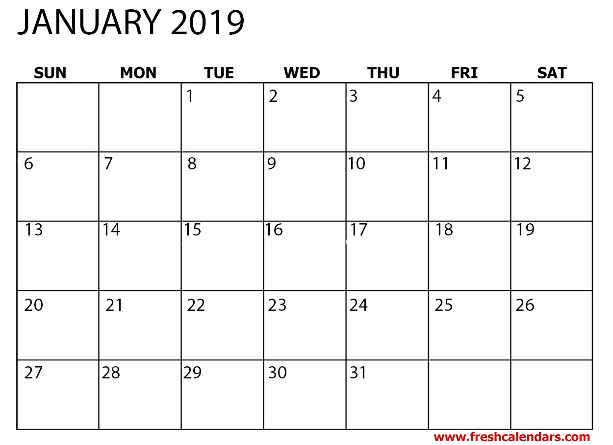 Free Monthly Calendar Template 2019 New Printable January 2019 Calendar Fresh Calendars