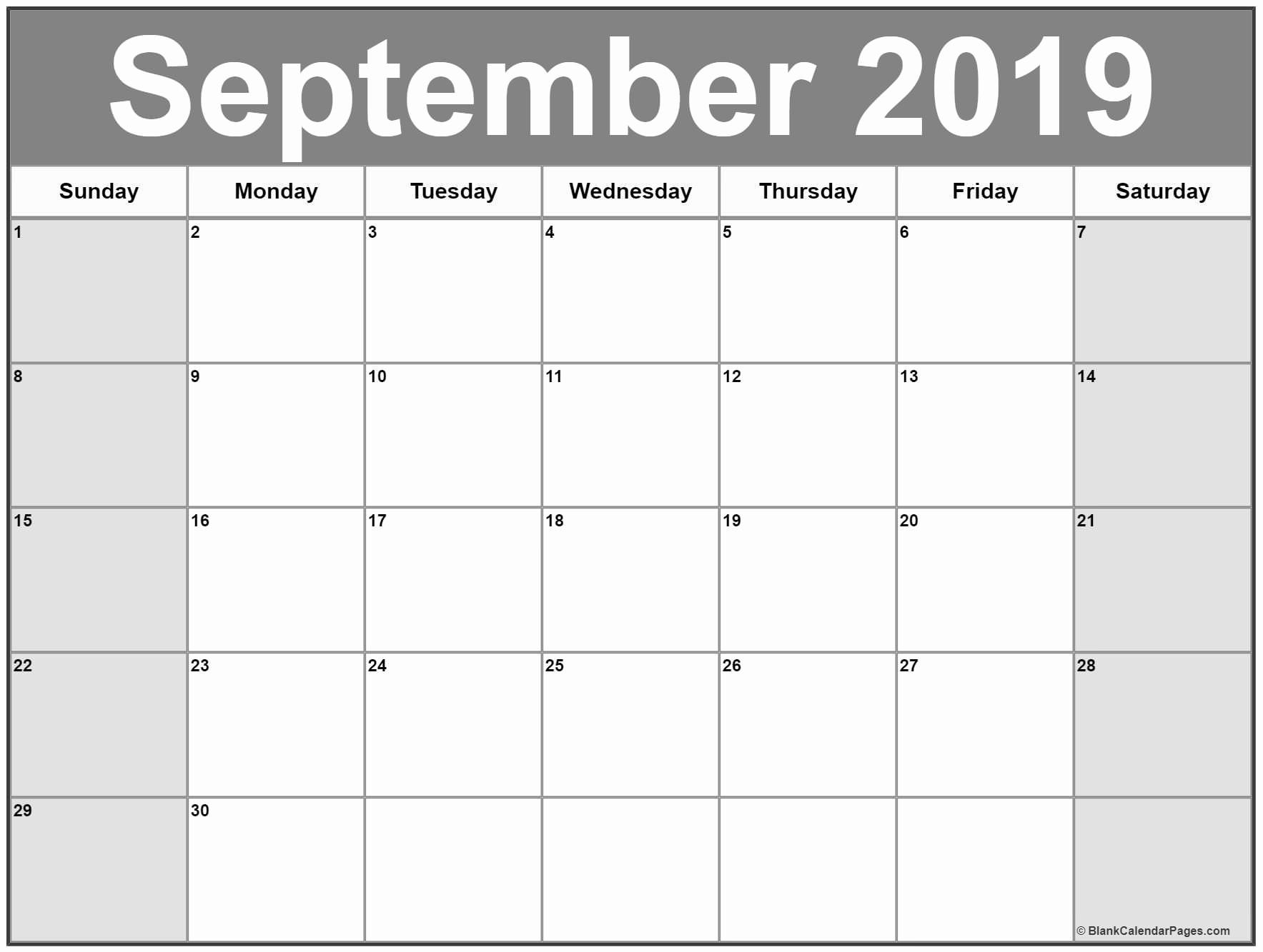 Free Monthly Calendar Template 2019 Unique September 2019 Calendar