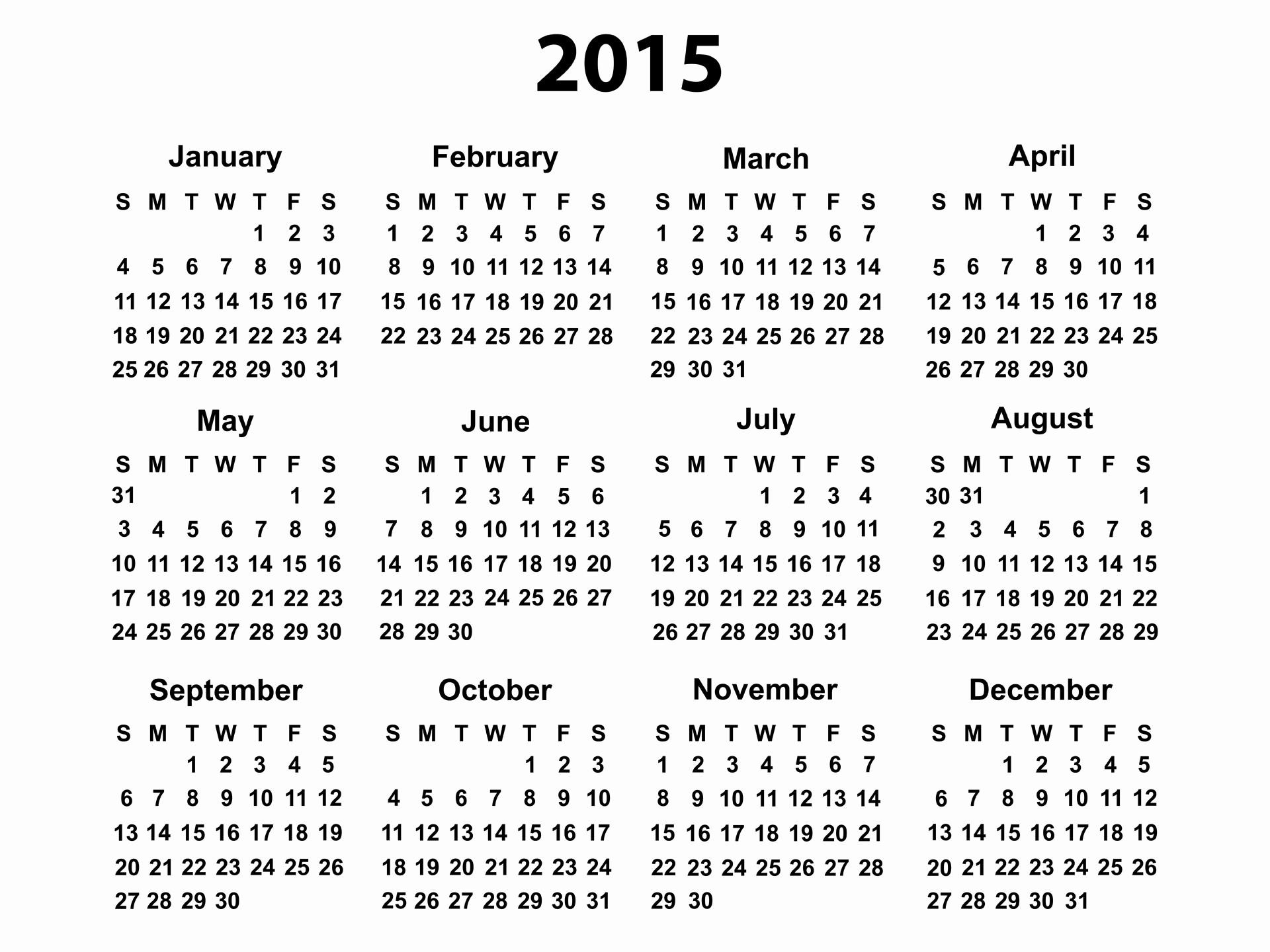 Free Monthly Calendar Templates 2015 Lovely 2015 Calendar Printable Free